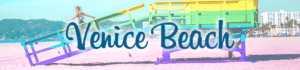 "Blue beach title ""Venice Beach"" written over an image a young woman running down the ramp of rainbow pride painted lifeguard stand"