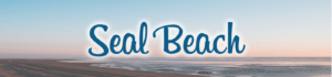 "Blue beach title ""Seal Beach"" written over an image of a calm ocean and groomed sand"