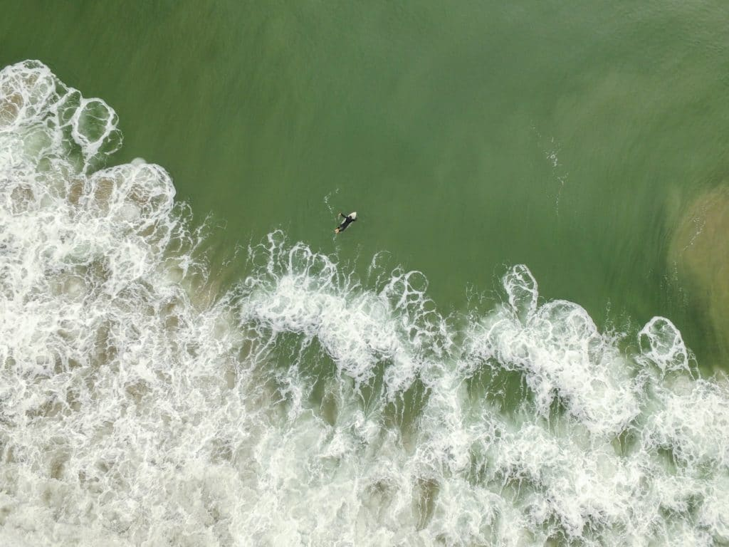 ariel shot of a surfer in a black wetsuit paddling out beyond the white wash in a green ocean near Lower Trestles in San Clemente, California