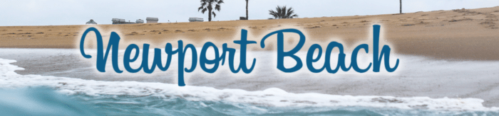 "Blue beach title ""Newport Beach"" written over an image of seafoam washing up a palm tree lined beach near homes"