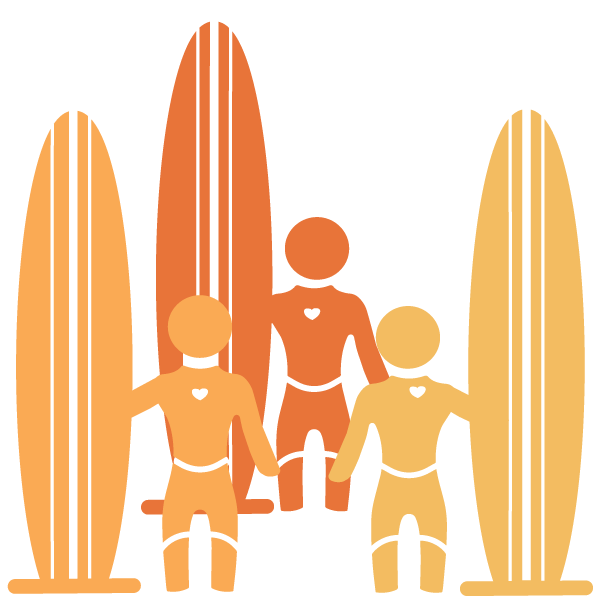 icons of 3 adult surfers standing apart with surfboards in shades of orange