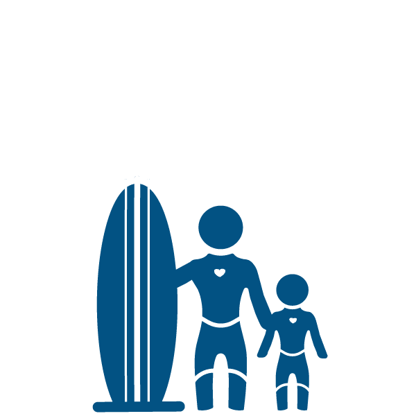 dark blue icon of an adult surfer