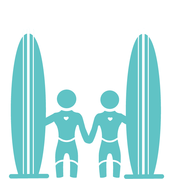 aqua colored icon of two adult surfers with their surfboards