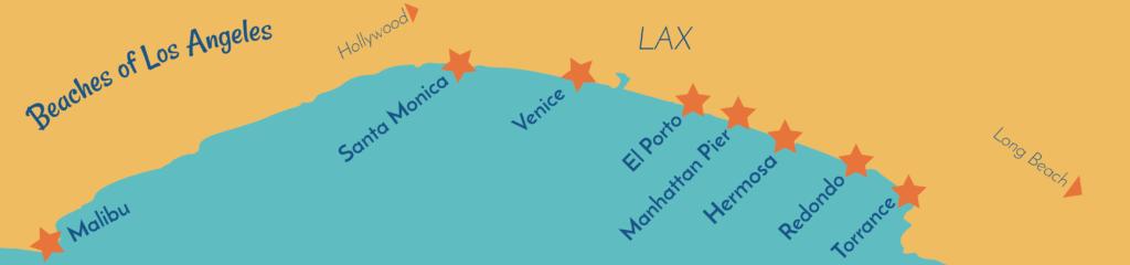Map of beaches in los angeles good for beginner surfing. From North to South, Malibu, Santa Monica, Venice, El Porto, Manhattan Beach Pier, Hermosa Beach, Redondo, Torrance