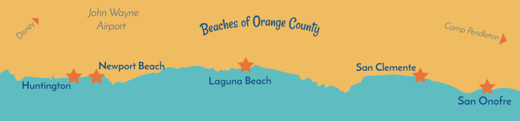 Map of beaches in Orange County good for beginner surfing. From North to Sounth: Huntington Beach, Newport Beach, Laguna Beach, San Clemente, San Onofre.