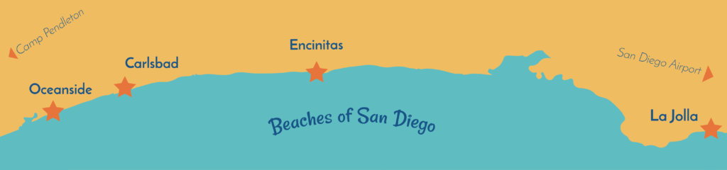 Map of beaches in North County San Diego good for beginner surfing. From North to Sounth: Oceanside, Carlsbad, Encinitas, Cardiff, La Jolla, Mission Beach